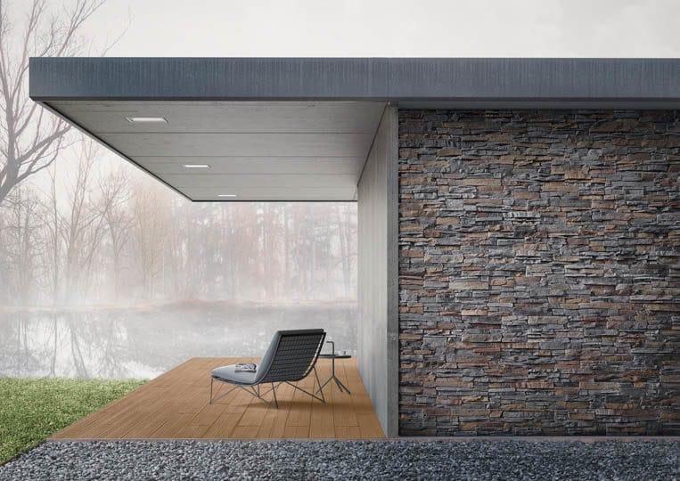 Terasse extérieure couverte avec vue sur lac et un sol en imitation bois couleur café acl mdaeira deck striped