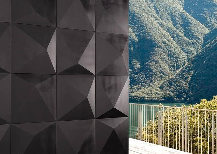 Coin de mur extérieur en pierre reconstituée couleur noir acl prisma