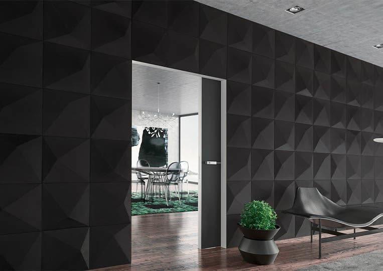 Pant de mur intérieur en pierre reconstituée couleur noir acl prisma