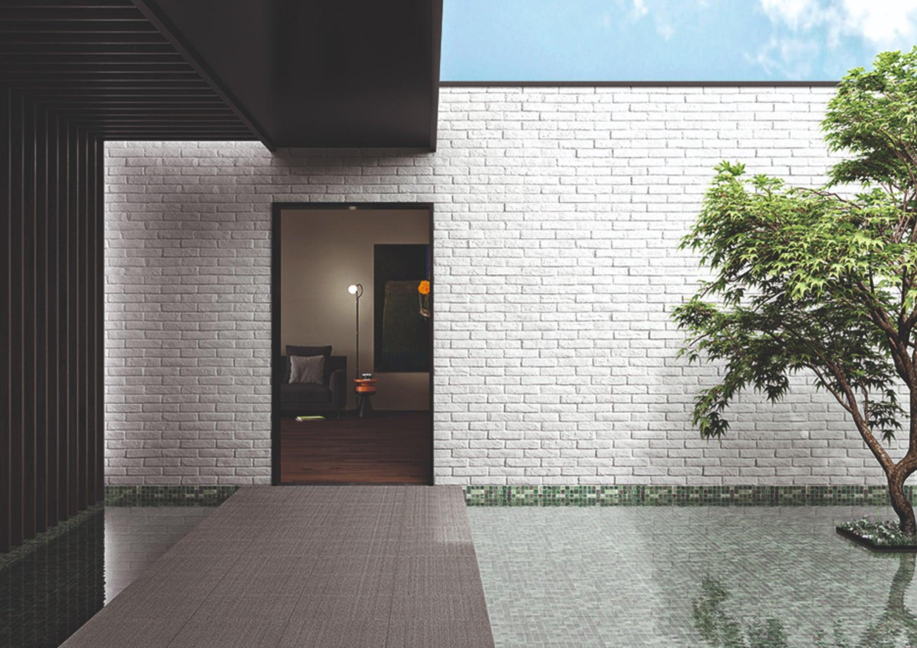 Mur d'entrée en pierre de parement acl cementbrick
