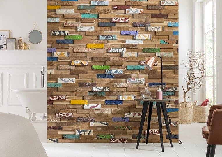 Pan de mur en bois teck recyclé Kohtao