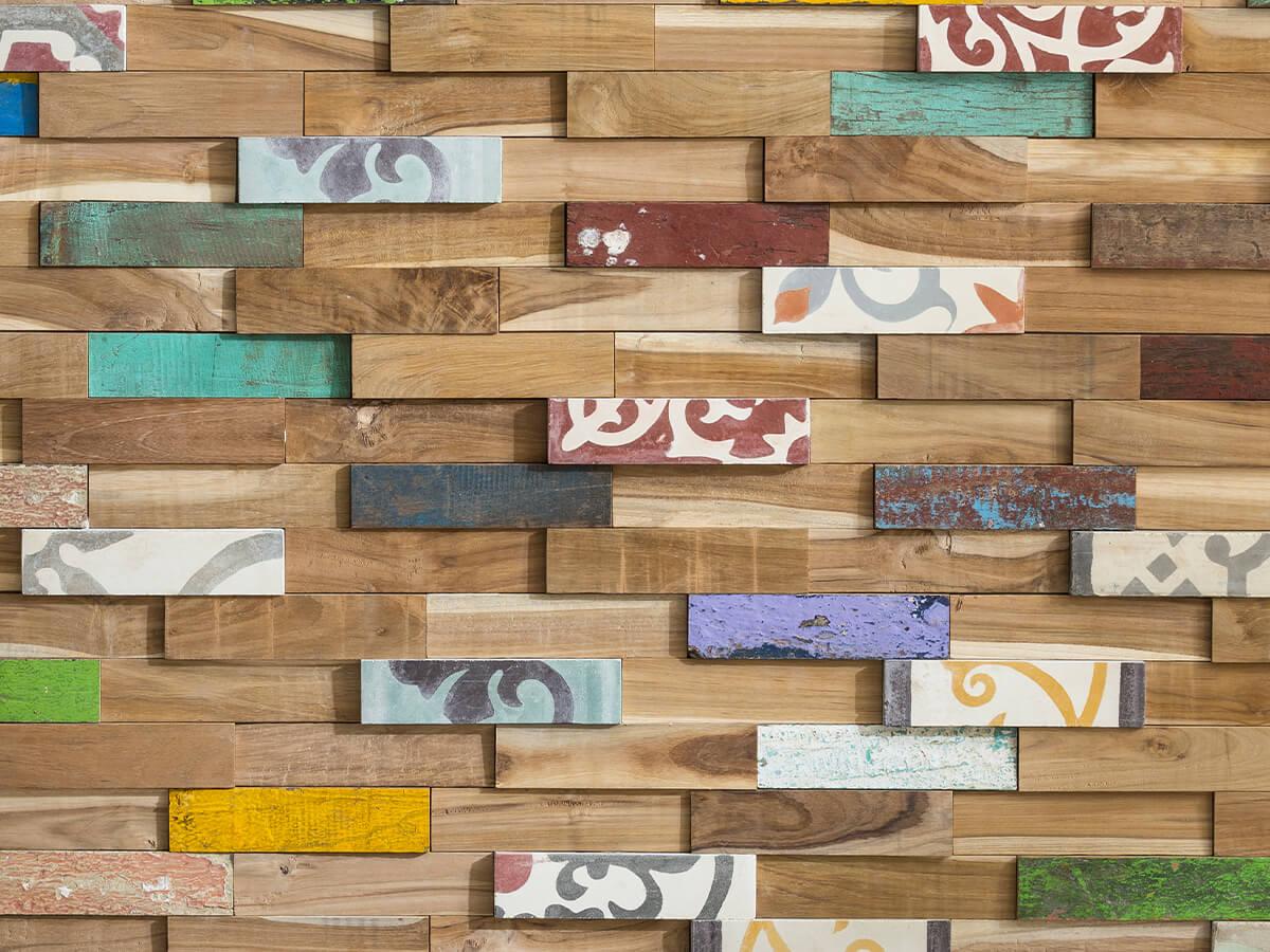 Mur en bois de parement recyclé