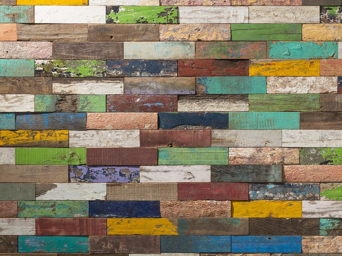 Pan de mur en bois de parement recyclé