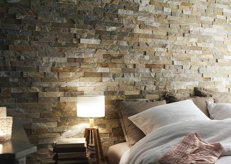 Pan de mur en pierre naturelle Lithos Briconature Beige