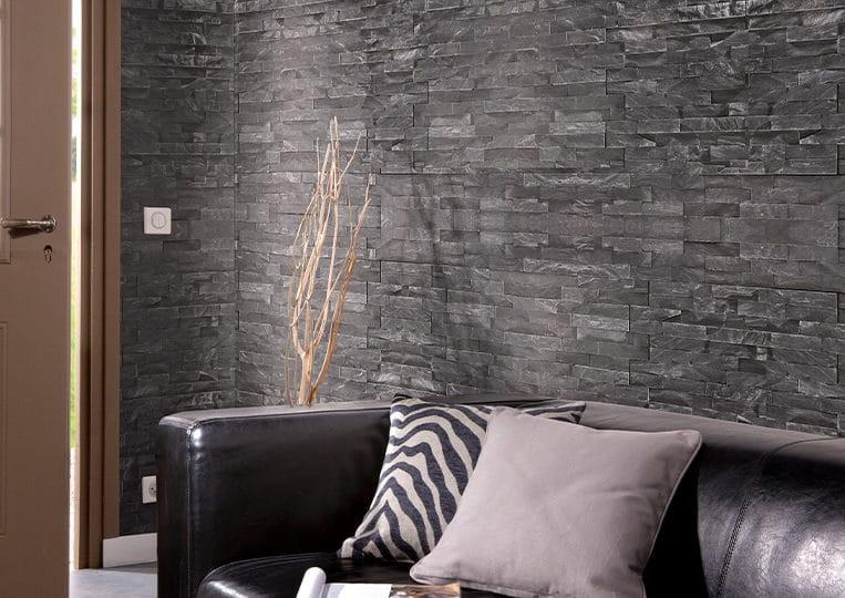 Mur en pierre naturelle Lithos Briconature noire