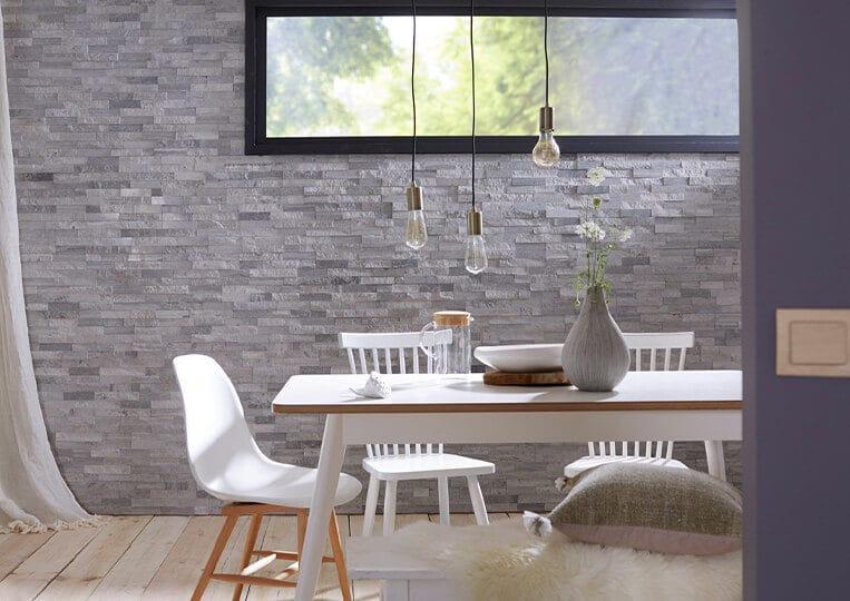 Mur intérieur en pierre reconstituée Lithos grise