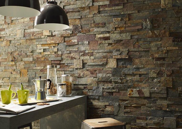 Mur intérieur en pierre naturelle Lithos multico