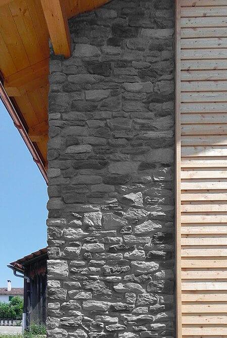 Coin de mur extérieur en pierre reconstituée Berna