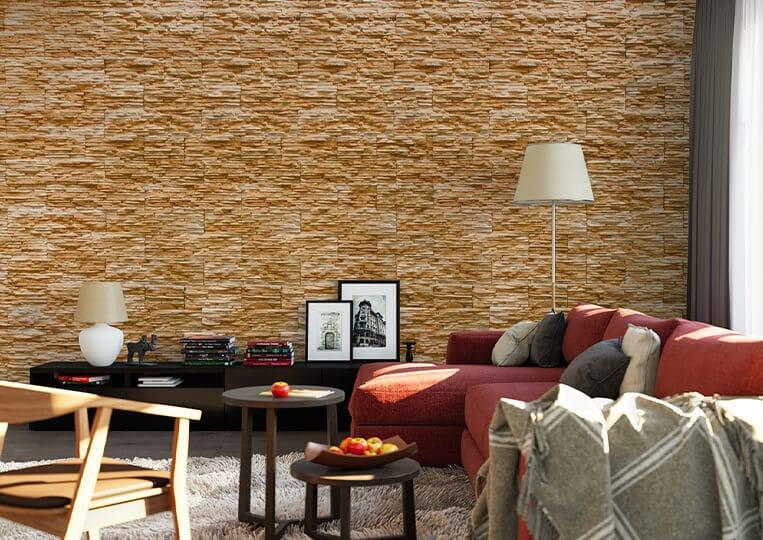 Salon avec un pans de mur en pierre de parement de couleur clair