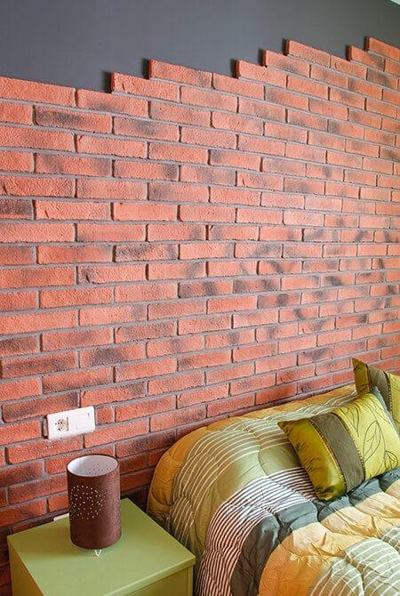 Mur de chambre en oxford briquettes pierre reconstituée