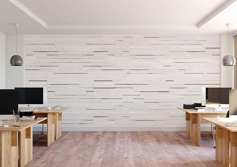 Salle de bureau avec un mur en pierre de parement tivoli
